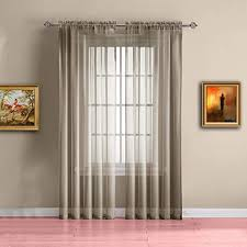 Amazon Com Warm Home Designs Pair Of Short Brown Taupe Sheer Window Curtains Each Voile Drape Is 56 X 63 Inches In Size Great For Kitchen Living Room Or Kids Bedroom 2 Fabric