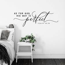 Scripture Wall Decal As For God His Way Is Perfect Psalm 18 Quote Wall Sticker Christian Bible Verse Vinyl Home Room Decor X593 Wall Stickers Aliexpress