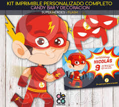 Tarjetas Y Kit Imprimible Cumpleanos Flash Super Heroes