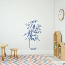 Flamingo Flower Potted Plant Wall Decal