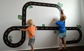 Race Track Road Wall Stickers Removable Decals Matchbox Car Set Nursery Decor Ebay