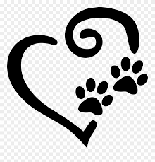 Swirly Heart With Paw Prints Decal Window Sticker Heart And Paw Print Clipart 2005573 Pinclipart