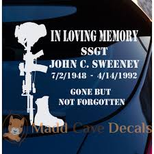Soldiers Cross Memorial Decal Car Window Laptop Tablet Battlefield Cross Memorial Decals Soldier Memorial Memories