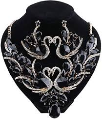 ouhe swan crystal pendant necklace