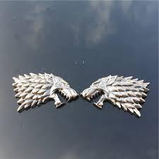 Car Truck Emblems Motors 2pcs Metal Game Of Thrones House Stark Wolf Head Car Emblem Badge Decal Sticker Hairli Hr