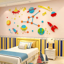 3d Rocket Space Ship Astronaut Creative Wall Sticker For Boy Room Decoration Outer Space Wall Decal Nursery Kids Bedroom Decor Wall Stickers Aliexpress