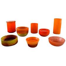 scandinavian orange art glass vases and