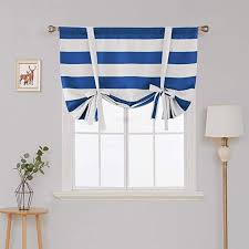 Amazon Com Deconovo Striped Blackout Curtains Rod Pocket Black And Greyish White Striped Curtains Tie Up Window Drapes Fo White Curtains Striped Room Curtains