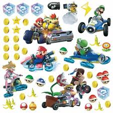 Nintendo Mario Kart 19 Wall Decals Race Cars Yoshi Game Room Decor Stickers For Sale Online Ebay