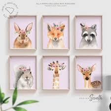 Lilac Nursery Art Girls Room Wall Art Animals Flower Crowns Lilac Wall Art Kid Room Prints Woodland Deer Bunny Fox Watercolor Animals