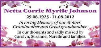 Netta Corrie Myrtle Johnson   Tributes & Condolences   Cairns ...