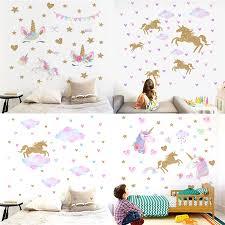 Cartoon Cute Unicorns Gold Stars Clouds Wall Stickers Wallpaper Vinyl Home Wall Decals Kids Living Room Bedroom Girls Room Decor Wall Stickers Aliexpress