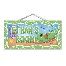Amazon Com Sea Turtle Door Sign For Kids Room Or Nursery With Personalized Name And Custom Colors Handmade