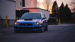 subaru blue car front view wallpaper