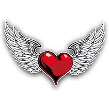 Amazon Com Vinyl Junkie Graphics Heart And Angel Wings Car Truck Window Laptop Sticker Decal Automotive