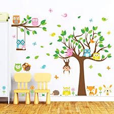 Amazon Com Nursery Birch Tree Wall Decal Set With Owl Birds Forest Vinyl Sticker Birch Tree Wall Decal Birch Tree Decal Baby Boy Whimsical Owls 7 Trees 1321 96 8ft Tall White Trees