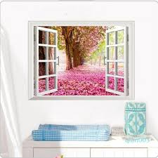 3d Cherry Blossoms Fake Windows Wall Stickers Removable Faux Window View Wall Decal Wall Decal For Livingroom Bedroom Entire Wall Decals Fairy Wall Decals From Qian003 3 47 Dhgate Com