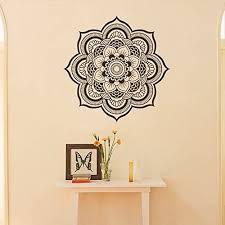 Amazon Com Wall Decal Decor Mandala Wall Decal Namaste Flower Mandala Indian Lotus Yoga Wall Decals Vinyl Sticker Interior Home Decor Art Wall Decor Bedroom 44 H X44 W Black Home Kitchen