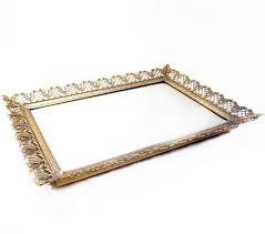 brass metal vanity mirror tray