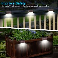 Eeekit 4pcs Led Solar Deck Lights Fence Post Solar Lights For Patio Pool Stairs Step And Pathway Weatherproof Led Deck Lights Auto On Off Solar Powered Outdoo In 2020 Solar Deck Lights
