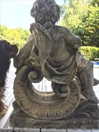 vintage french cherub stone garden statue