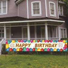 Amazon Com Huge Happy Birthday Banner Balloons Party Decorations Giant Birthday Party Signs Bday Party Supplies Colorful Fence Outdoor Decorations Banner Kids Birthday Fence Yard Sign 6 5 X 1 2 Ft Toys Games
