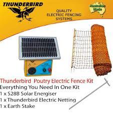 Thunderbird Poultry Netting S28b Solar Energiser Chicken Electric Fence Kit Ebay