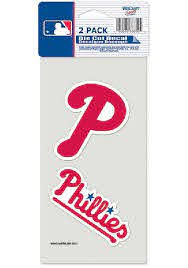 Philadelphia Phillies 2 Pack 4x4 Perfect Cut Auto Decal Red 575265