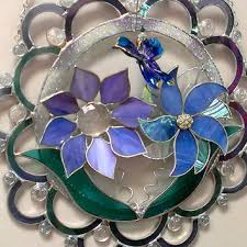 large wall art stained glass flowers