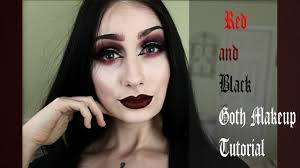red and black goth makeup tutorial