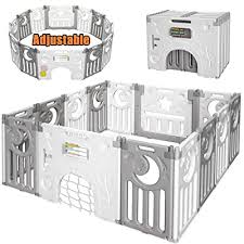 18 Panel Childrens Fence For Indoor Outdoor Use Large Activity Centre For Baby Boys Girls Toddlers Kids Safety Play Yard With Activity Wall And Lock Gate Moromuu Foldable Baby Playpen Blue White Playards