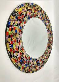 mirror large round beveled mosaic tile