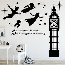 Peter Pan Scene Silhouettes Removable Wall Stickers Stars Big Ben Wall Art Decal Girls Room Nursery Wallpaper Mural Home Decor Wall Stickers Aliexpress