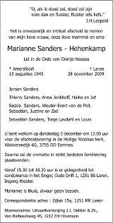 Marianne Sanders - Hehenkamp : Condoleren