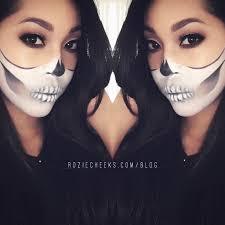 halloween half skull makeup roziecheeks
