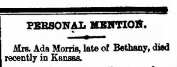 Death of Ada (Tinkler) Morris in Kansas in 1887. - Newspapers.com