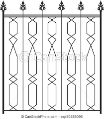 Wrought Iron Gate Door Fence Window Grill Railing Design Vector Art