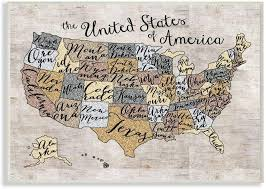 Amazon Com The Kids Room By Stupell United States Map Typography Art Wall Plaque 11 X 0 5 X 15 Proudly Made In Usa Baby