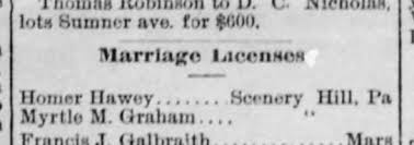 Myrtle Graham and Homer Harvey Marriage License - Newspapers.com