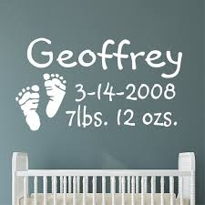 Custom Nursery Wall Decal Baby Footprints Birth Announcement Etsy