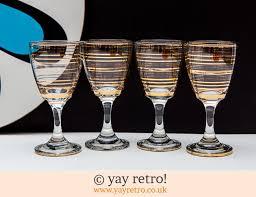 gold stripe vintage sherry port glasses