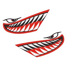 Huge Shark Teeth Decal Kayak 24 X 40 Boat Jet Ski Sticker Graphic Automotive Body Parts