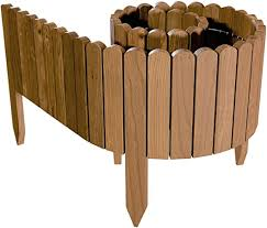 Floranica Spiked Log Roll Border As Easy Plug In Fence Palisade 203 Cm Long Can Be Shortened As Wooden Edging For Flower Beds Lawns Paths Impregnated Height 20 Cm Color Brown Amazon Co Uk Garden
