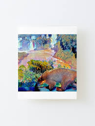 Coati On Waterfall Fence Painting Mounted Print By Galleom Redbubble