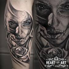 Day Of The Dead Style Girl With Rose Tattoo Neck Tattoo For Guys