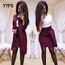 Women Long Blazer Jacket+Sheath O-Neck Mini Dress – PureBeautyPerfect.net