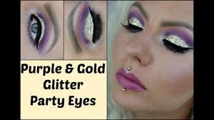 purple gold glitter party eye makeup