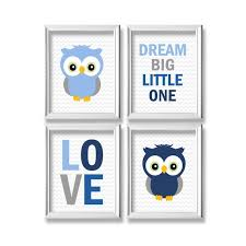 Owl Nursery Wall Decor Blue And Gray Owl Wall Art Dream Big Little One Love Baby Boy Nursery Decor Set Of 4 Instant Download Dp781 By Belowblink Catch My Party