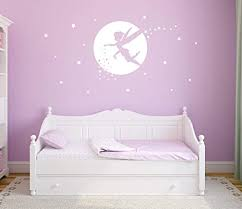 Amazon Com Fairy Wall Decals Girl Room Decor Nursery Wall Decals Fairy Wall Stickers For Bedroom Wall Decor Bedroom Moon And Star Wall Decor Y34 White Home Kitchen