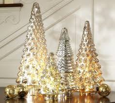 lit antique mercury glass trees from